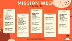 Mission Week Schedule