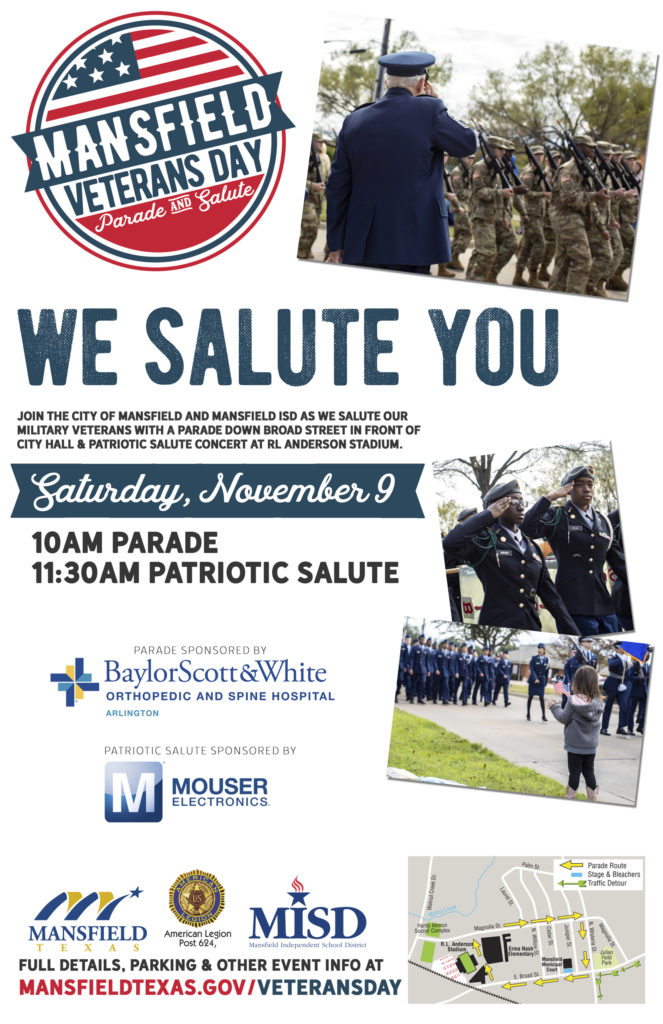 Poster for Mansfield TX Veterans Day Parade and Salute 2019